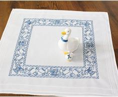 Duftin Sarah 01295-AZ03 - Kit de punto raso para mantel, algodón, 80 x 80 cm, diseño de huevos de pascua