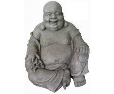 Figura de Buda sentado riendo - para casa y jardín - Altura 40 cm - gris