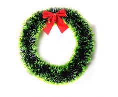 MoGist Corona de Navidad Fácil Lazo Corona de Navidad decoración Guirnalda Christmas Wreath Puerta Corona Corona de Adviento para Puerta y Ventana Árbol de Navidad, Grün-35cm, 35 cm