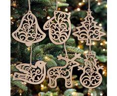WARMWORD 6 Piezas Nuevo Colgante NavideñO De Madera DIY Adornos para áRbol Navidad Y DecoracióN Fiesta Adorno Arbol Ornamento Decoracion Contiene Alces,Guantes,Campanas,muñeco de Nieve.