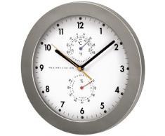 Hama PG-300 - Reloj de pared (AA, Plata, Color blanco, De plástico, Vidrio)