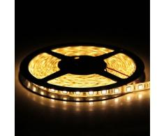 BUYERTIME Tira de Luz 5M/16.4ft 300 LEDs (60 LEDs/M) 5050 SMD LED Flexible Impermeable(IP65) DC 12V Decoración para Navidad Fiesta - Blanco Cálido