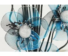 Flourish Jarrón pequeño 723248 – – 813 – Jarrón con flores de nailon artificiales Turquesa/Negro y texto en, diseño Home Accessorie, 32 cm, color azul