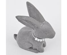 Conejo sentado Vintage Style Figura de madera gris Pascua mesa decoración, madera, gris, 18x12x5cm