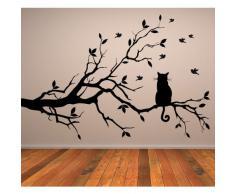 Gato En Rama de Arbol Pegatina de Pared. Arte de Pared Animal disponible en 5 tamaños y 25 colores