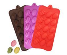 YuCool - Moldes de silicona para huevos de Pascua para chocolate, 3 unidades, con 15 cavidades para caramelos de chocolate, cubitos de hielo, color rojo, rosa, chocolate