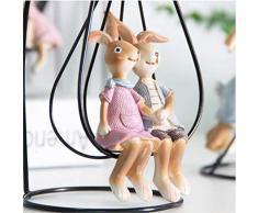 Vosarea Figuras de Conejo Artware Adorno para el hogar Resina Conejito Figuras Estatua Decoración de Regalo de Pascua (un Conjunto de)