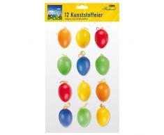 Idena 734 542 - Conjunto de 12 & # x153; huevos de Pascua de plástico para Multicolor Multicolor