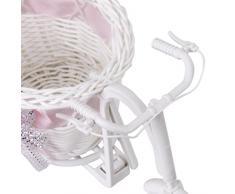 SODIAL(R) Ratan Flor Cesta Triciclo Bicicleta Para Florero Jarron Regalo Decoracion Rosa