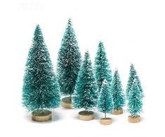 Handfly 8 Piezas Mini árboles de Navidad Árbol de Navidad en Miniatura Pinos Árboles de sisal Artificial Árbol de Escarcha de Nieve con Bases de Madera para la decoración del hogar de Navidad