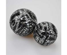Plata y negro juego de bolas decorativas del mosaico