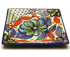 PLATO CUADRADO 20X20 en ceramica hecho y pintado a mano con decoración flor. 20 cm x 20 cm (FLOR MARINA AZUL)