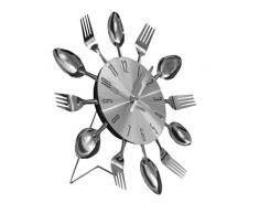 Funky Silver Fork Spoon cubertería Carlos cocina reloj de pared (SCL04)