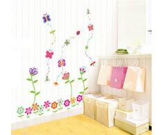 ufengke® Coloridas Flores y Mariposas Preciosos Pegatinas de Pared, Vivero Habitación de Los Niños Removible Etiquetas de La Pared / Murales