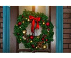 Riffelmacher & Weinberger Chapa estriada Palo Corona de Navidad 19010 19011 – Corona de Adviento para sí adornan Adviento Tiempo, Verde, 30 cm