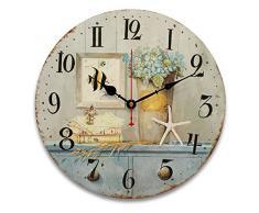 Bluelover 34cm Vintage relojes antiguos sabor cocina Retro estilo Shabby Chic hogar Cafe cuadros-#7