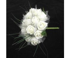 Ramo de novia (espuma, con joyas y hierba), diseño de rosas