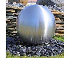 CLGarden Grande bola decorativa de acero inoxidable para la construcción de una fuente de jardín, DIY, cepillado mate con diámetro 48cm, juguetes de agua de exterior