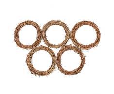 Coronas de ratán natural de parra para decoración del hogar, fiestas, bodas o Navidad, juego de 5 unidades , brown wreath, 25 cm