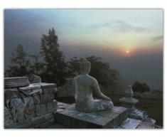 Ed Freeman Pyramid International Lienzo decorativo (60 x 80 cm), diseño de figura de Buda al atardecer