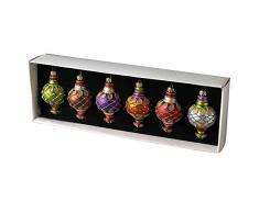 1 x Juego de seis colores surtidos Cristal y adornos de árbol de Navidad con purpurina detalle