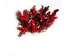 QHGstore Frijoles artificiales ramo de las flores Auspicioso Navidad Decoración de las bayas de plantas rojo PC 1