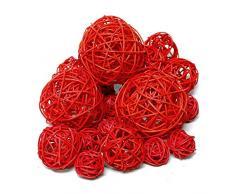 20 ratán bolas Surtido 3 Tamaños, ratán bolas/TOP PRECIO., ratán, rojo, 3cm + 5cm + 7,5cm Sortiment