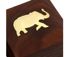 regalo de madera caja de joyería artesanal única por su tamaño: 7,62 x 7,62 x 5,08 cm.