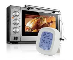 2 en 1 termómetro de horno y temporizador de cocina/ZILONG magnético Digital LCD pantalla táctil de lectura instantánea acero inoxidable Sonda Termómetro de cocina y temporizador de cuenta atrás con alarma para cocinar,