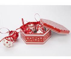 Tradicional 7 pieza de color rojo y blanco – Juego de caja de bolas de Navidad árbol de Navidad decoración