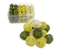 Colour verde y Surtido de bolas de Navidad de mimbre, ratán sintético de bolas de/la parte superior de precio!, grün / lindgrün / blassgrün, 7.5cm