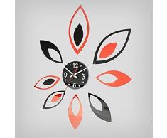 Bluelover Moda flor pegatinas DIY Home decoración espejo reloj etiqueta de la pared-negro rojo