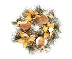 LIOOBO Corona de Adviento de Navidad Porta Velas Decoraciones de Velas de Navidad (Dorado)