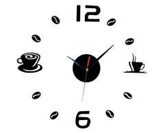 Aliciashouse Reloj de pared grande DIY Wall Sticker reloj café té taza número reloj Home Decor de Cafe-negro