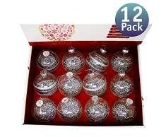 Bolas de Navidad Personalizables rellenables. Bolas Transparentes de Decoración para Árbol de Navidad. Adornos Colgantes de Plástico Inastillable. Varios Modelos. 10CM (Plateado)