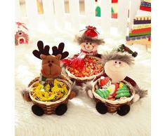 Youkara 1x Cesta de Almacenamiento Adorno de Navidad Candy de Navidad Decoración de Papá Noelde Muñeco de Nieve de Alce Cesta Regalo