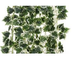 144 pies - 24 artificial Guirnaldas de arce rojo Vine Seda verdes de hiedra, bodas y fiestas Big Value guirnalda de hojas verde Planta artificial colgante decoración de pared, morado