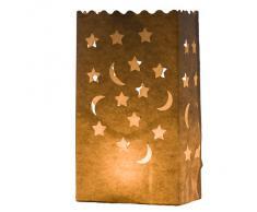 """Linternas de papel para velas en papel de té """"Luna y estrellas"""" (paquete de 10), decoración para fiestas, bodas y cumpleaños, por Kurtzy TM"""