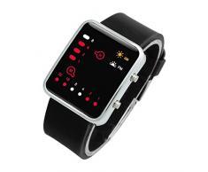 Reloj - SODIAL(R)Unisex De mujer Reloj Hombre Silicona Digital Rojo LED Deportivo Binario pulsera Color Del Articulo:Negro