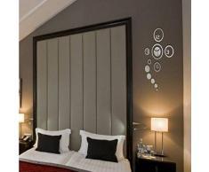Malloom Decoración nueva DIY 3D hogar moderno Espejo de cristal Sala reloj de pared plata