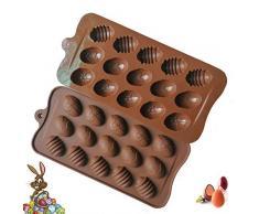Leikance - Molde de silicona para hornear huevos de Pascua con 15 cavidades, molde de silicona para pasteles de chocolate, fondant