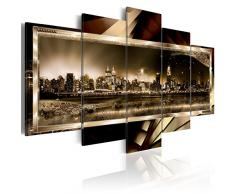 Cuadro en Lienzo 200x100 cm - 3 tres colores a elegir - 5 Partes - Formato Grande - Impresion en calidad fotografica - Cuadro en lienzo tejido-no tejido - New York abstraccion 020111-27 200x100 cm B&D XXL