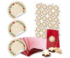 24 pequeñas bolsas de papel rojas con base y base de pergamino 7 x 4 x 20,5 cm + 24 pegatinas redondas 4 cm corona adviento rojo verde se puede escribir beige Navidad regalo paquete