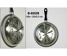 DonRegaloWeb - Reloj de cocina - Reloj de pared de metal y melamina en color metálico y negro decorado con forma de sartén.
