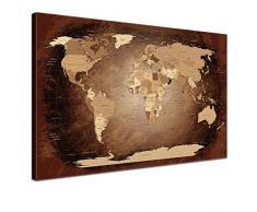 LanaKK Mapamundi con corcho para fijar los destinos - Mapa del mundo antigüedad, inglés, lámina sobre bastidor camilla en marrón, enmarcado en una parte de 60 x 40 cm