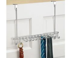 InterDesign Classico Organizador de puerta, colgador de metal cromado con 14 ganchos para colgar cinturones y ordenar corbatas, plateado