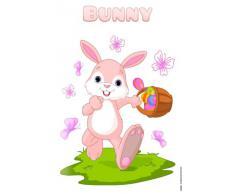 Cartel de chapa Placa metal tin sign pequeño y lindo conejo de Pascua con los huevos y la mariposa canasta sátira cómico 20x30 cm
