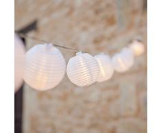 Guirnalda blanca de 20 farolillos chinos de luz LED blanca cálida, tipo Lampion de Lights4fun