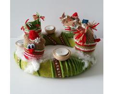 Haekelset, Corona de adviento De mármol con Titulares de luz de té, 4 Bolsa buho para el relleno con las instrucciones, Guirnalda y accesorios