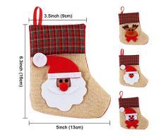 aytai 12pcs 3d de regalo de mini medias de Navidad Papá Noel Muñeco de nieve Reno Navidad Yute calcetín de cubiertos para decoración de Navidad